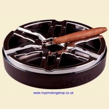 Xikar Burnout Alloy Wheel Shaped Chrome 6 Rest Cigar Ashtray