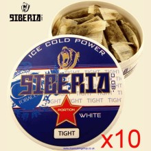 Siberia Extremely Blue WHITE TIGHT Smokeless Chew Tobacco Bags 10 x 20g Packs