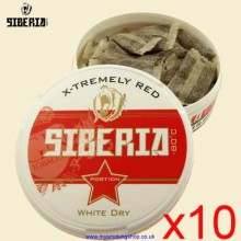 Siberia Extremely Red WHITE DRY Smokeless Chew Tobacco Bags 10 x 13g Packs