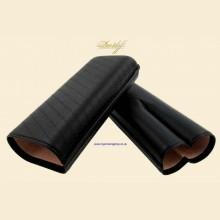 Davidoff Classic Essentials Enjoyment Black Leather Telescopic 2-finger Gordo Cigar Case 106762