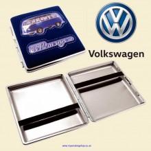 Volkswagen Bulli Dark Blue Suede Chrome King Size Cigarette Case