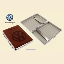 Volkswagen Logo Brown Leather Chrome King Size Cigarette Case