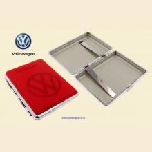 Volkswagen Logo Red Leather Chrome King Size Cigarette Case