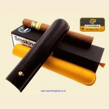 Cohiba High Quality Branded Black Leather Cigar Case with 1 Esplendido Cigar
