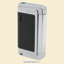 Caseti Single Jet Flame Black Polished Chrome Cigarette Lighter ca282-01