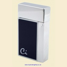 Caseti Single Jet Flame Dark Blue Polished Chrome Cigarette Lighter ca160-01