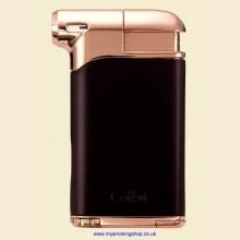 Colibri Pacific Air Black Rose Gold Pipe Lighter and Tamper