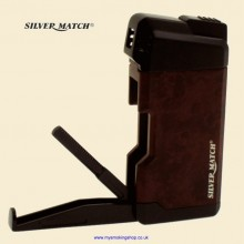 Silver Match Hillingdon Burl Black Pipe Lighter with Pipe Tool