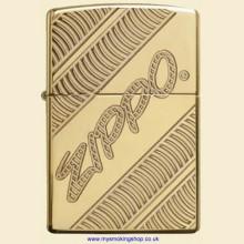 Zippo Armor Case High Polish Brass Zippo Coiled Regular Petrol Lighter 29625