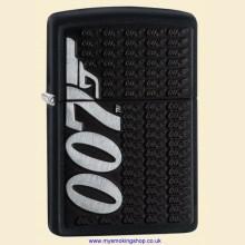 Zippo James Bond 007 Gun Logo Matte Black Regular Petrol Lighter 29718