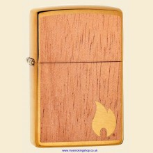 Zippo Woodchuck Flame Mahogany and Brushed Brass Regular Petrol Lighter 29901