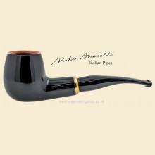 Aldo Morelli Fiorita Black 9mm Filter Smooth Curved Pipe 513