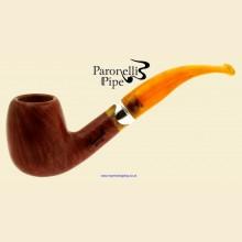Paronelli Style Smooth Real Briar Bent Billiard Pipe a