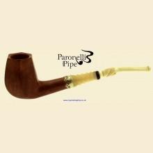 Paronelli Vintage Ivory Smooth Real Briar Bent Panelled Billiard Pipe c