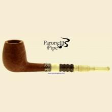 Paronelli Vintage Ivory Smooth Real Briar Straight Billiard Pipe e