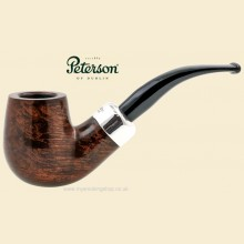 Peterson Silver Mounted Army Smooth Large Bent Billiard Pipe xl90