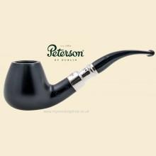 Peterson Ebony Silver Spigot Smooth Bent Brandy Pipe b11