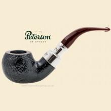 Peterson Newgrange Silver Spigot Sandblast Bent Apple Pipe 03