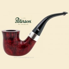 Peterson Sterling Silver Red 9mm Filter Smooth Bent Pipe 05