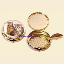 Enamel Print High Quality Gilt Push Button Pocket Ashtray Kitten f