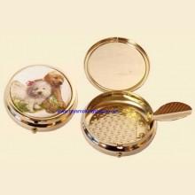 Enamel Print High Quality Gilt Push Button Pocket Ashtray Puppy c
