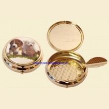 Enamel Print High Quality Gilt Push Button Pocket Ashtray Puppy d
