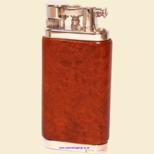 IM Corona Old Boy Chrome Natural Briarshell Flint Pipe Lighter 644009