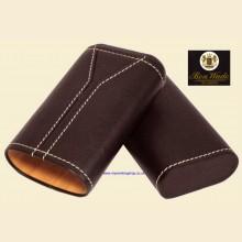 Ben Wade High Quality Spanish Cedar Lined Black Leather Telescopic Toro 3-finger Cigar Case s220