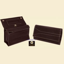 Ben Wade High Quality Large Black Leather Button Box Style Rolling Tobacco Pouch p301