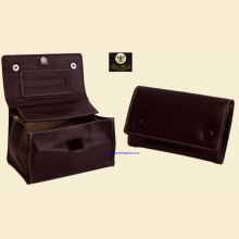 Ben Wade High Quality Regular Black Leather Button Box Style Rolling Tobacco Pouch p314