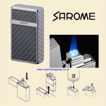 Sarome KSCW1-04 Light Grey Carbon Fibre Triple Jet Flame Cigarette Lighter