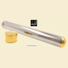 Dunhill Churchill Cigar Tube Polished Stainless Steel & Gold Plate PA5316